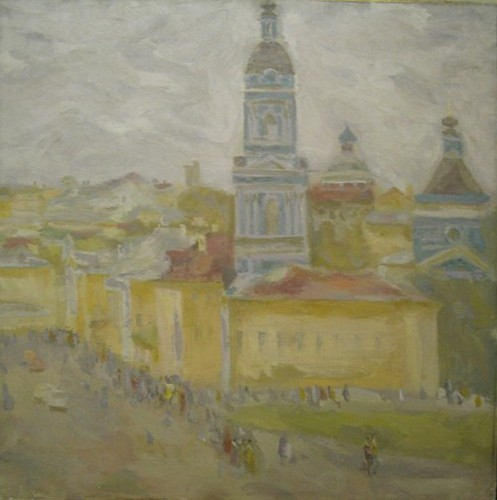 On Solyanka street; canvas, oil, 65x65 sm, 1980 year, collection