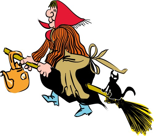 Witch on broomstick; Broomstick, Cat, Witch, Woman, Kettle, Apron, Scarf