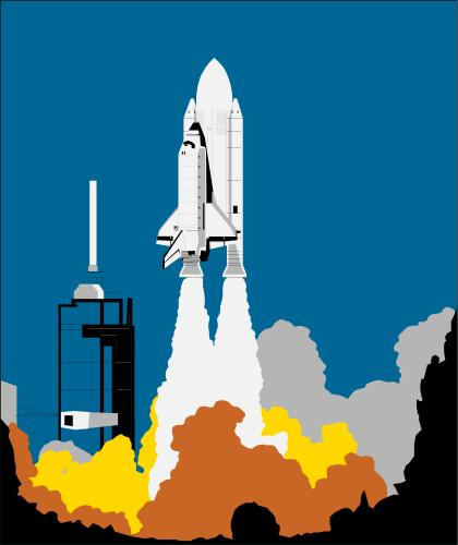 Space shuttle taking off from launch pad; Space, Rocket, Shuttle ...