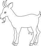 Outline drawing of a goat, Animals, views: 13292