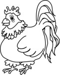 Hen outline, Animals, views: 8616
