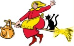 Witch on broomstick, Holidays