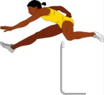 Woman jumping over a hurdle, Sport