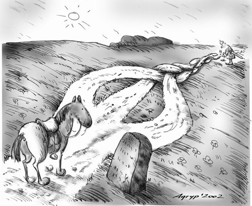 At the crossroads; Caricatura