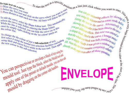 Example of text on a curve; Text on curves, Text, Curve, Xara, Rainbow, Envelope, Mould, Example