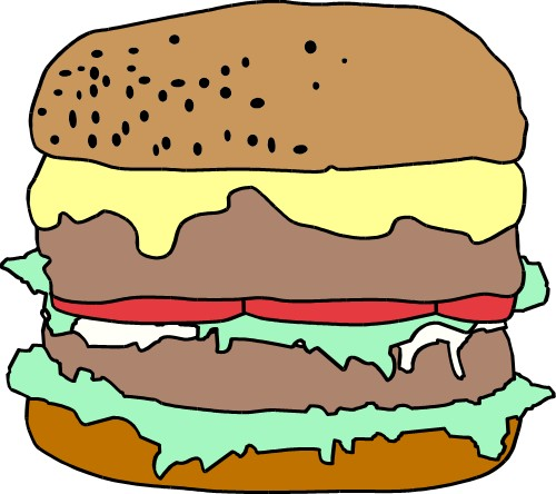 Double-decker beef burger; Beef, Burger, Fast food