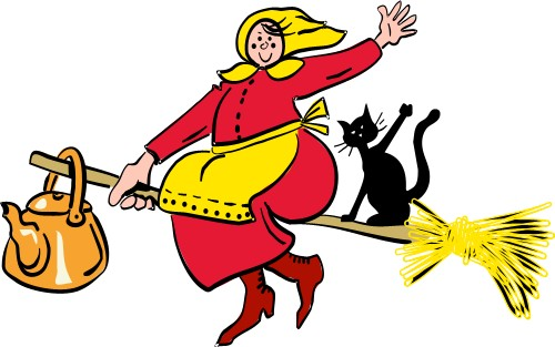 Witch on broomstick; Holidays