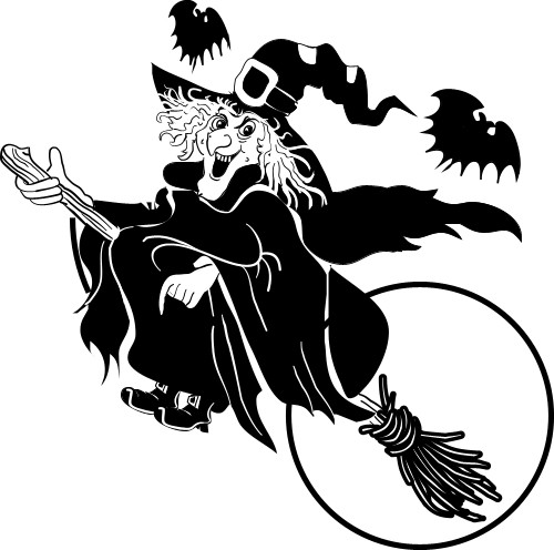 Witch on broomstick; Moon, Broomstick, Bats, Witch, Woman, Kettle, Apron, Pointed hat, Black