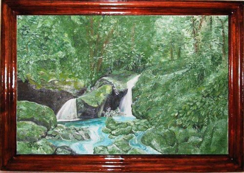 Timber waterfall; 60x40 cm; canvas, oil; 2004 year