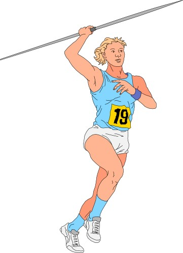 Person throwing a javelin; Javelin