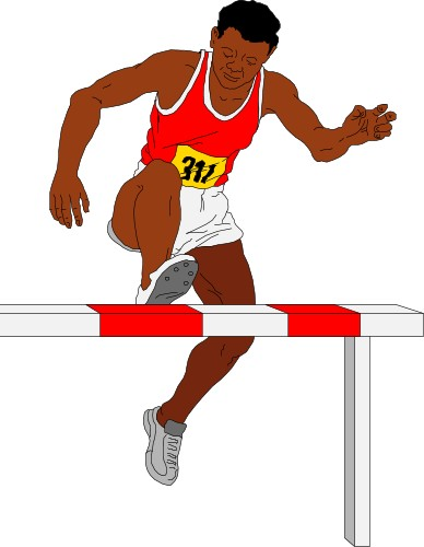 Man jumping a hurdle in the steeplechase; Steeplechase, Running, Race