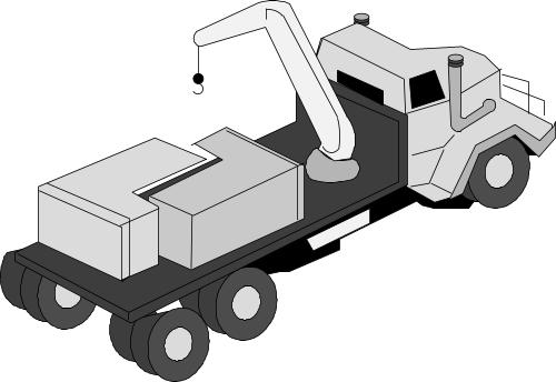 Open backed truck with loading arm; Transport