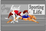 Two greyhounds racing around a track, Corel Xara