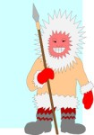 Eskimo with spear, Cartoons