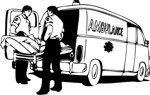 Person being loaded into an ambulance, Transport